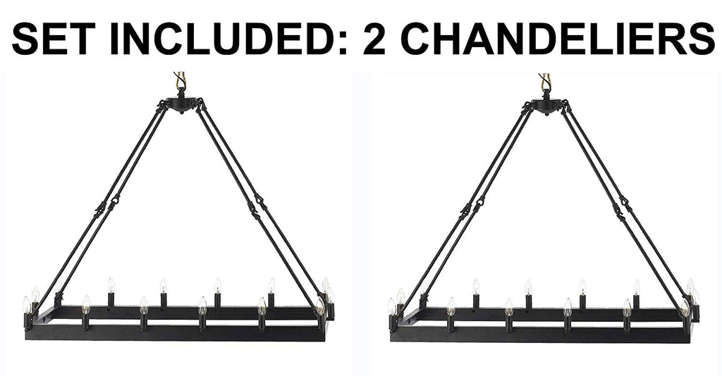 Set of 2 - Wrought Iron Vintage Barn Metal Castile Chandelier Chandeliers Industrial Loft Rustic Lighting - 2EA G7-3429/14