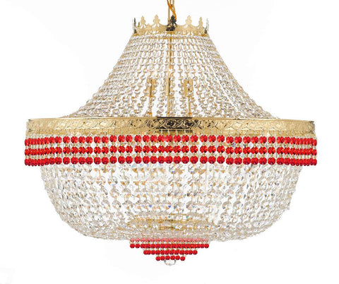 "Nail Salon French Empire Crystal Chandelier Lighting Dressed with Ruby Red Crystal Balls - Great for The Dining Room H 30"" W 36"" 25 Lights - G93-B74/H30/CG/4199/25"