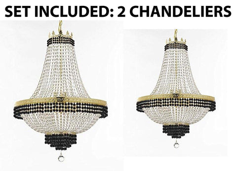 "Set of 2-1 French Empire Crystal Chandelier Lighting Trimmed w/Jet Black Crystal! H36"" X W30"" and 1 Flush French Empire Crystal Chandelier Trimmed with Jet Black Crystal! H30"" X W24"" - B79/CG/870/14 + B79/CG/870/9"