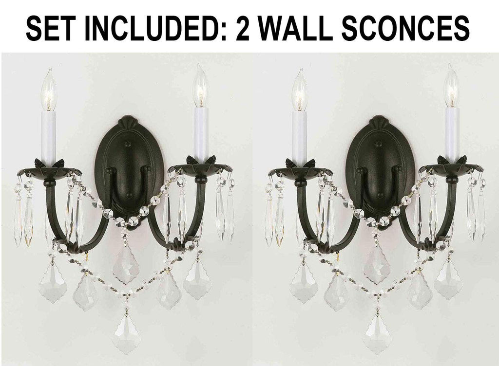 Image of: Set Of 2 Wrought Iron Wall Sconce Crystal Wall Sconces Lighting H11 Gallery Chandeliers