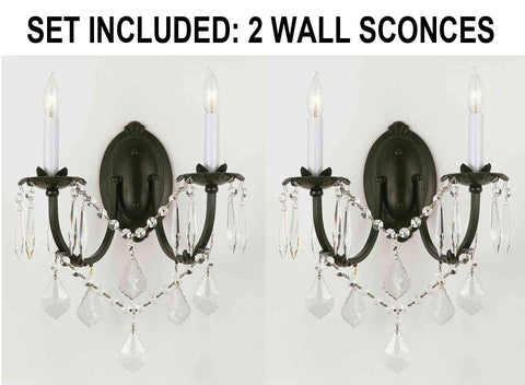 "Set of 2 - Wrought Iron Wall Sconce Crystal Wall Sconces Lighting H11"" x W11"" - 2EA A83-2/3034"