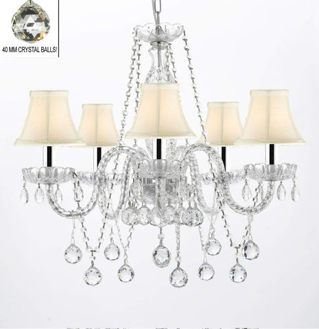 "Authentic All Crystal Chandeliers Lighting Empress Crystal (TM) Chandeliers with Crystal White and Shades W/Chrome Sleeves H27"" X W24"" - G46-B43/WHITESHADES/B37/384/5"