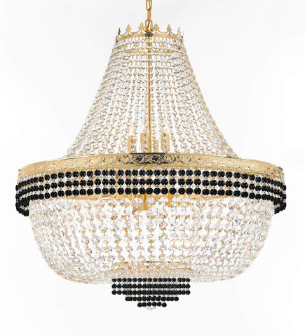 "Nail Salon French Empire Crystal Chandelier Lighting Dressed with Jet Black Crystal Balls - Great for The Dining Room, Foyer, Entryway and More! H 36"" W 36"" 25 Lights - G93-B75/H36/CG/4199/25"