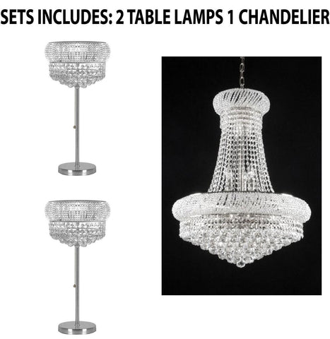 "Set of 3 - 2 Crystal Halo Modern / Contemporary Floating Orb Table Lamp Lighting With Crystal Balls - H 28"" W15"" and 1 French Empire Crystal Chandelier Chandeliers H32"" X W24"" - Good for Dining Room! - 2EA TL/541/3 + 1EA SILVER/542/15"