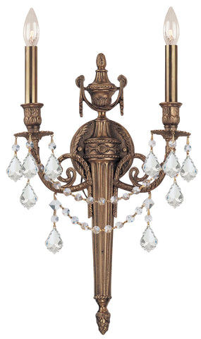 2 Light Matte Brass Traditional Sconce Draped In Clear Spectra Crystal - C193-752-MB-CL-SAQ