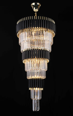 "Retro Palladium Crystal Glass Fringe 9 Tier Chandelier W24"" x H55"" - Great for Entryway/Foyer, Living Room and More--Limited Edition - G7-76217/27"
