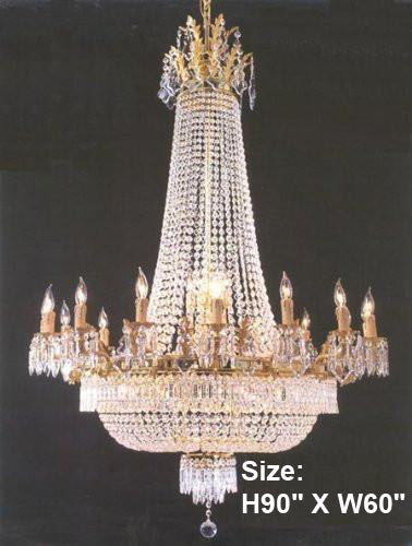 "French Empire Crystal Chandelier Lighting H90"" X W60"" 36 Lights - A81-1280/24+12"