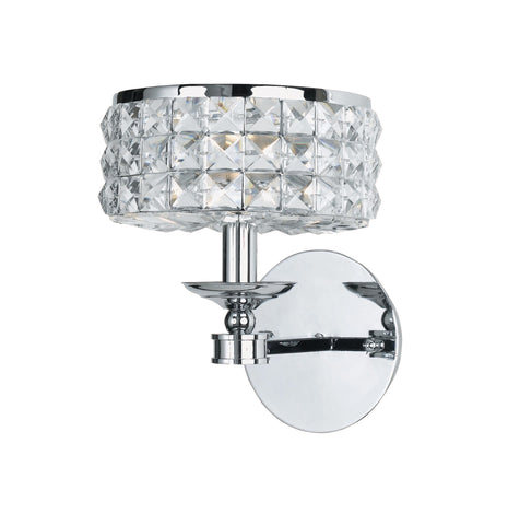 1 Light Polished Chrome Crystal Sconce Draped In Clear Hand Cut Crystal - C193-801-CH-CL-MWP