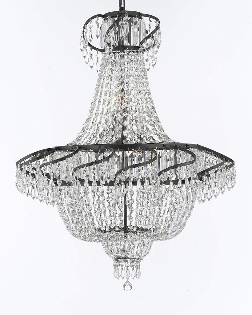 "French Empire Crystal Chandelier Chandeliers Lighting H30"" X W24"" with Dark Antique Finish! Great for Dining Room, Foyer, Entryway, Family Room and More! - A93-CB/928/9"