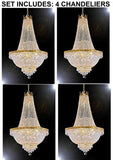 "Set of 4 - French Empire Crystal Gold Chandelier Lighting - Great for The Dining Room, Foyer, Entry Way, Living Room - H50"" X W24"" - 4EA F93-C7/CG/870/9"