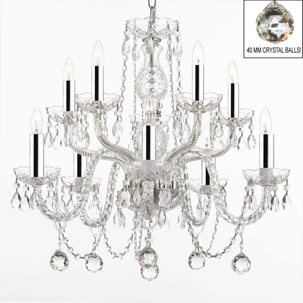 ALL EMPRESS CRYSTAL (tm) CHANDELIER LIGHTING CHANDELIERS WITH 40MM CRYSTAL BALLS! SWAG PLUG IN-CHANDELIER W/14' FEET OF HANGING CHAIN AND WIRE W/CHROME SLEEVES! - A46-B43/B15/B6/CS/1122/5+5