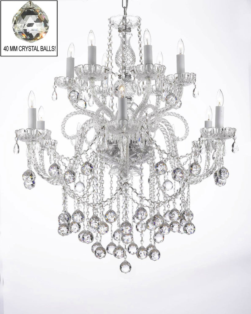 "Chandelier Lighting Crystal Chandeliers With Crystal Balls H38"" X W32"" - A46-B6/3/385/6+6"