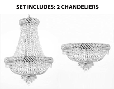 Set of 2 - 1 French Empire Crystal Chandelier H26 X Wd23 and 1 Flush French Empire Crystal Chandelier H16 X Wd23 Empire - 1EA-448/9 SILVER+1EA-flush/448/9 SILVER