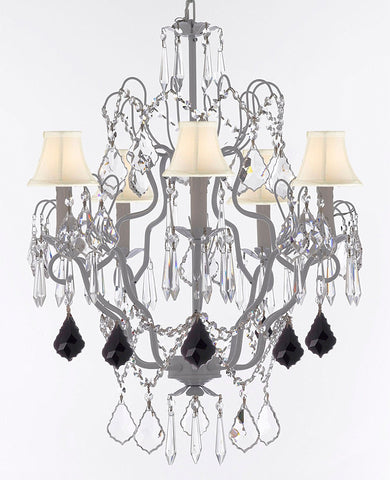 "White Wrought Iron Crystal Chandelier Chandeliers Lighting H27"" x W21"" Dressed with Jet Black Crystal Great for Kitchens, Bathrooms, Bedrooms, Closets, and Dining Rooms w/ White Shades - J10-B97/WHITESHADES/WHITE/26025/5"