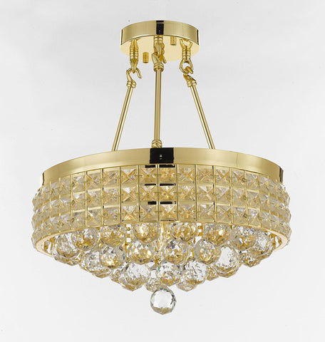 Semi Flush Mount French Empire Crystal Ball Chandelier Chandeliers Lighting Ht 17 X Wd 15 4 Lights Crystal Gold Metal Shade flushmount Rustic Modern - B6/26005/4