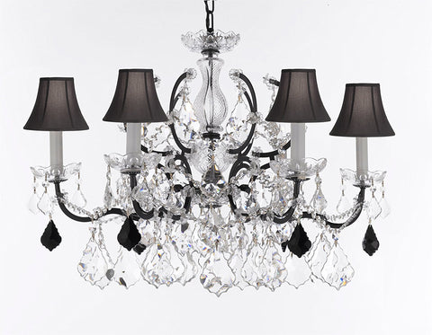 "Swarovski Crystal Trimmed Chandelier 19th C. Rococo Iron & Crystal Lighting- Dressed with Jet Black Crystals Great for Kitchens, Bathrooms, Closets, & Dining Rooms H 25"" x W 26"" w/Black Shades - G83-B97/BLACKSHADES/994/6SW"