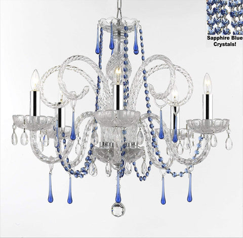 "AUTHENTIC ALL CRYSTAL CHANDELIER CHANDELIERS LIGHTING WITH SAPPHIRE BLUE CRYSTALS! PERFECT FOR LIVING ROOM, DINING ROOM, KITCHEN, KID'S BEDROOM W/CHROME SLEEVES! H25"" W24"" - G46-B43/B82/387/5"