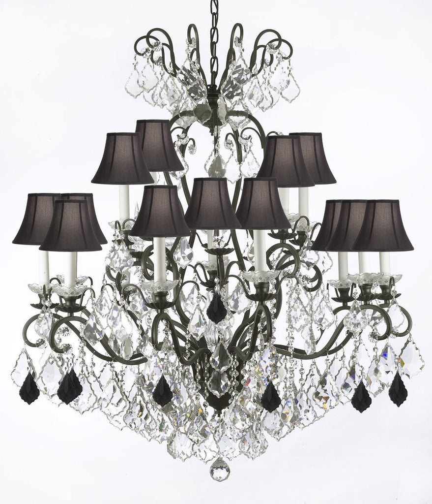 "Wrought Iron Crystal Chandelier Lighting Dressed with Jet Black Crystals W38"" H44"" - Great for the Dining Room, Foyer, Entry Way, Living Room w/Black Shades - F83-B97/556/16/BLACKSHADES"