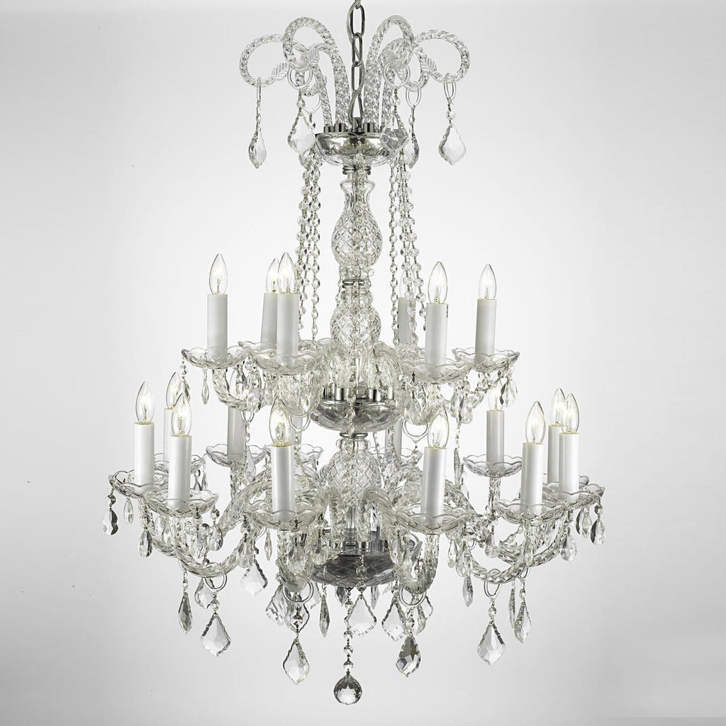 Authentic All Crystal Chandelier Lighting 38hx28w 18lts Murano - J10-26/18