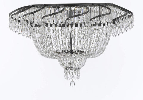 "French Empire Crystal Flush Chandelier Chandeliers Lighting H20"" X W24"" with Dark Antique Finish! Good for Dining Room, Foyer, Entryway, Family Room and More! - A93-FLUSH/CB/928/9"