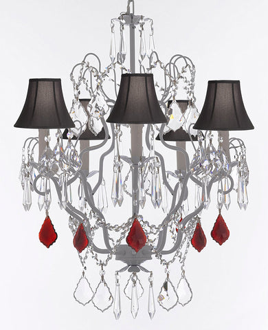 "White Wrought Iron Crystal Chandelier Chandeliers Lighting H27"" x W21"" Dressed with Ruby Red Crystal Great for Kitchens, Bathrooms, Bedrooms, Closets, and Dining Rooms w/Black Shades - J10-B98/BLACKSHADES/WHITE/26025/5"
