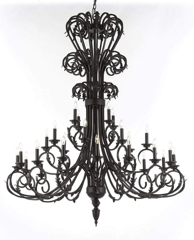 "Versailles Large Foyer/Entryway Wrought Iron Chandelier 60"" Inches Tall - T205-724/28"