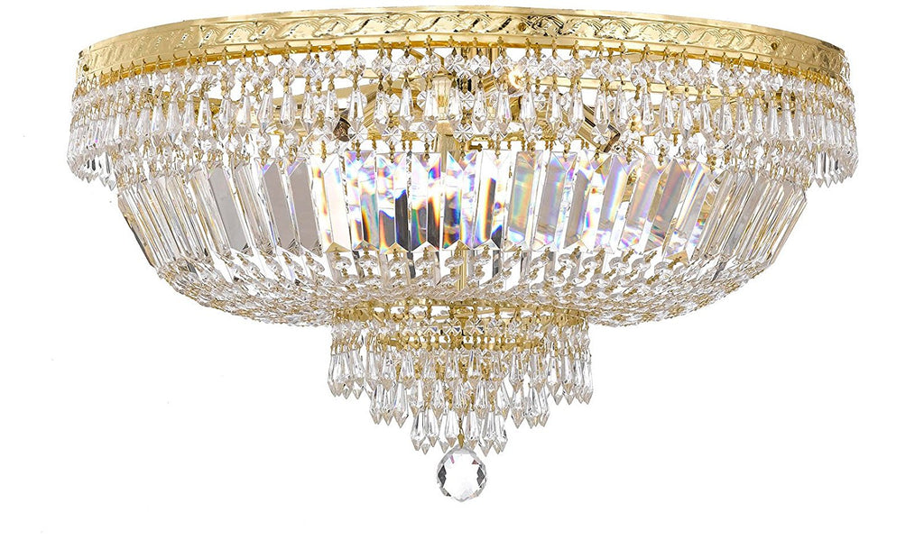"French Empire Crystal Semi Flush Basket Chandelier Chandeliers Lighting H18"" XW24"" - F93-B8/FLUSH/CG/870/9"
