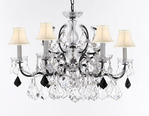 "Swarovski Crystal Trimmed Chandelier 19th C. Rococo Iron & Crystal Lighting- Dressed with Jet Black Crystals Great for Kitchens, Bathrooms, Closets, & Dining Rooms H 25"" x W 26"" w/White Shades - G83-B97/WHITESHADES/994/6SW"