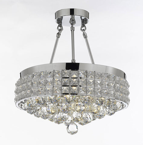 Semi Flush Mount French Empire Crystal Ball Chandelier Chandeliers Lighting Ht 17 X Wd 15 4 Lights Crystal Silver Metal Shade flushmount Rustic Modern - B6/26004/4