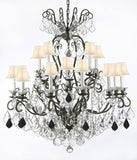 "Swarovski Crystal Trimmed Chandelier Wrought Iron Crystal Chandelier Lighting Dressed with Jet Black Crystals W38"" H44"" - Great for the Dining Room, Foyer, Entry Way, Living Room w/White Shades - F83-B97/WHITESHADES/556/16SW"