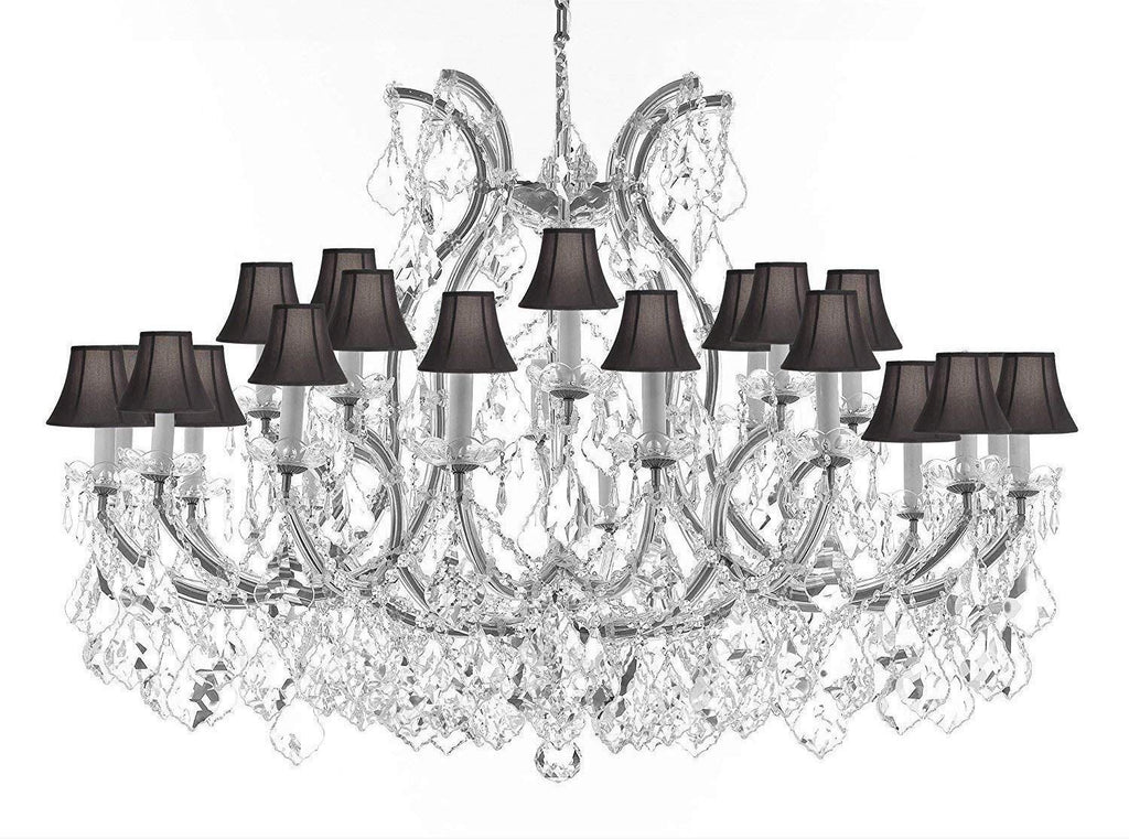 "Swarovski Crystal Trimmed Chandelier Lighting Chandeliers H35"" XW46"" Great for The Foyer, Entry Way, Living Room, Family Room and More! w/Black Shades - A83-B62/CS/BLACKSHADES/2MT/24+1SW"