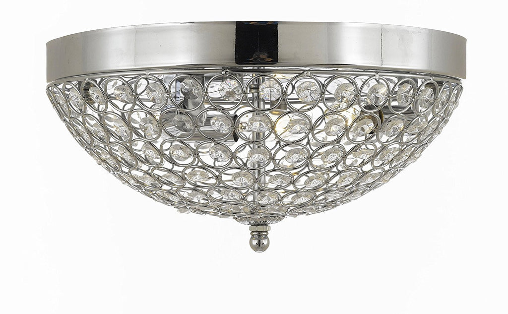 Flush Mount 3 Lights French Empire Crystal Chandelier Chandeliers Lighting Silver Ht 6 X Wd 12  Flush Empire - 9069/3