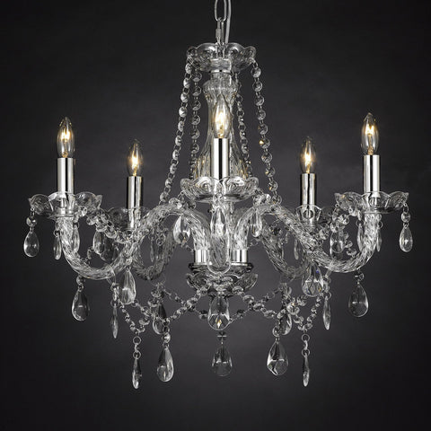 "Crystal Chandelier Lighting 5 Lights H19"" X Wd 19"" Ceiling Fixture Pendant Lamp New Chandeliers Murano - NNN-11987/5-SILVER"