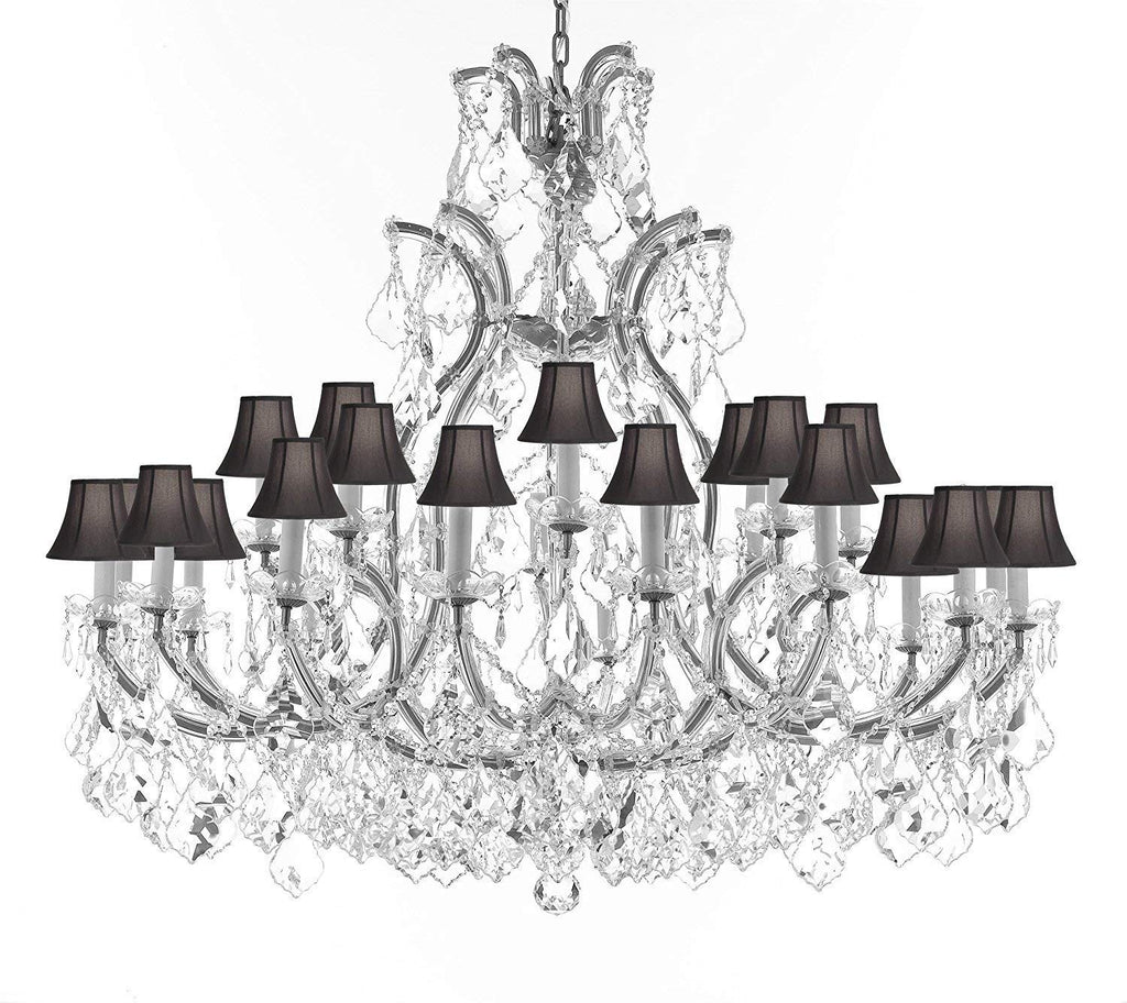 "Crystal Chandelier Lighting Chandeliers H41""X W46"" Great for the Foyer, Entry Way, Living Room, Family Room and More w/Black Shades - A83-B62/CS/BLACKSHADES/52/2MT/24+1"