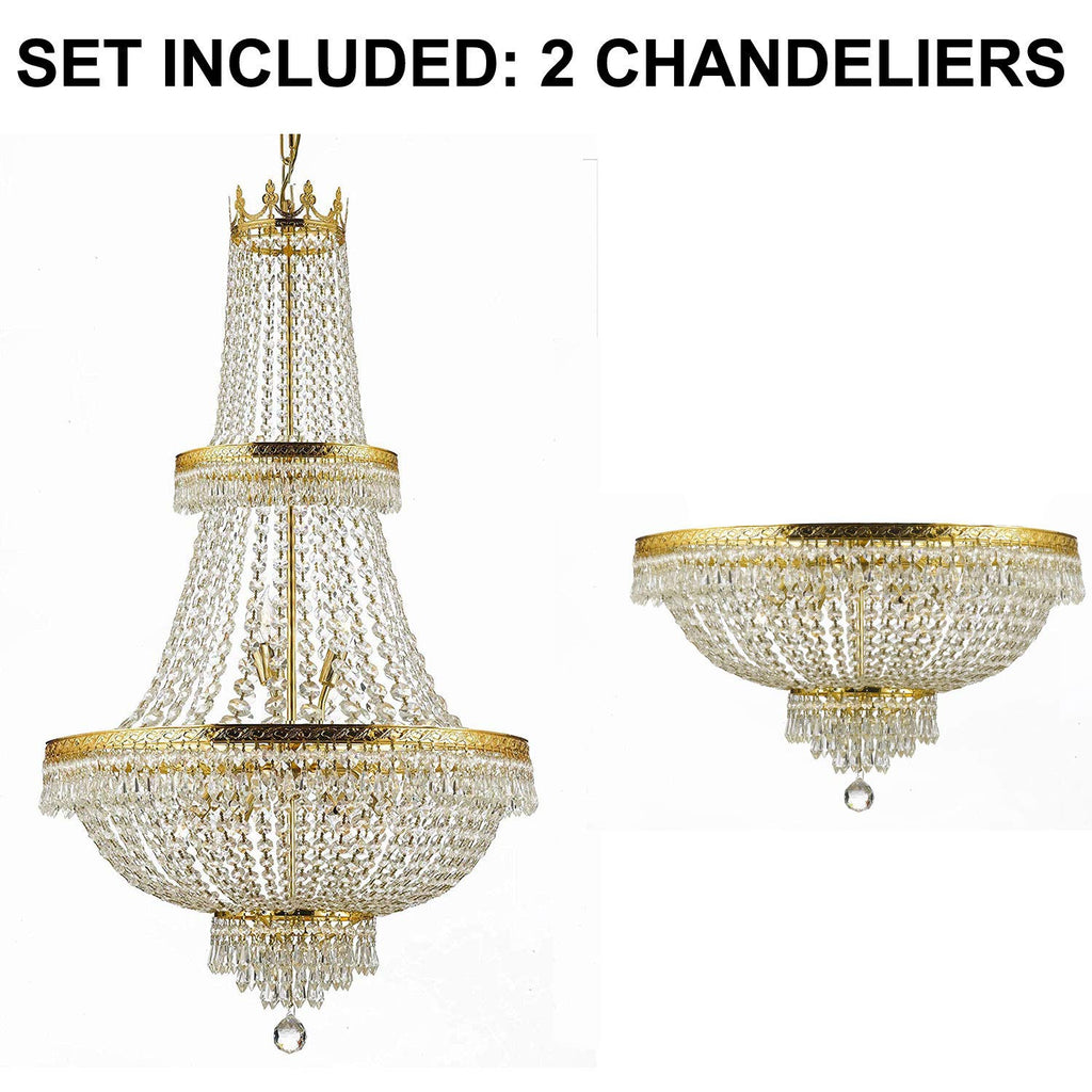"Set of 2-1 French Empire Crystal Chandelier Lighting H50"" X W24"" - Great for The Dining Room, Foyer, Living Room! and 1 French Empire Crystal Semi Flush Chandelier Lighting H18"" X W24"" - 1EA CG/870/15 + 1EA FLUSH/870/9"