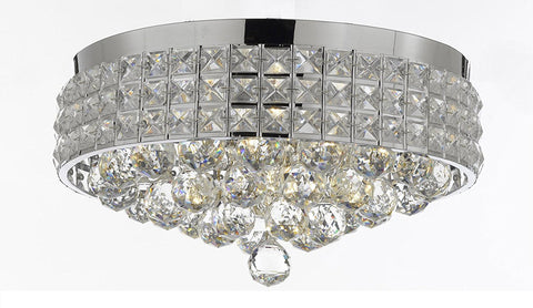 Flush Mount French Empire Crystal Ball Chandelier Chandeliers Lighting Ht 8 X Wd 15 4 Lights Crystal silver Metal Shade flushmount Rustic Modern - B6/26004/4-Flush