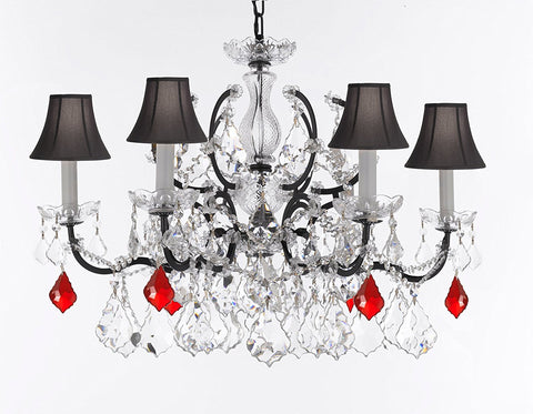 "Swarovski Crystal Trimmed Chandelier 19th C. Rococo Iron & Crystal Lighting- Dressed with Ruby Red Crystals Great for Kitchens, Bathrooms, Closets, and Dining Rooms H 25"" x W 26"" w/Black Shades - G83-B98/BLACKSHADES/994/6SW"
