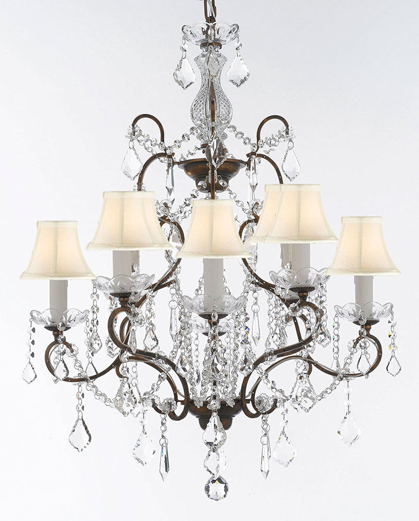 "Swarovski Crystal Trimmed Wrought Iron Crystal Chandelier Chandeliers Lighting H 31"" x W 24"" Good for Dining Room, Foyer, Entryway, Family Room, Bedroom and More! w/White Shades - G7-WHITESHADES/11224/8SW"