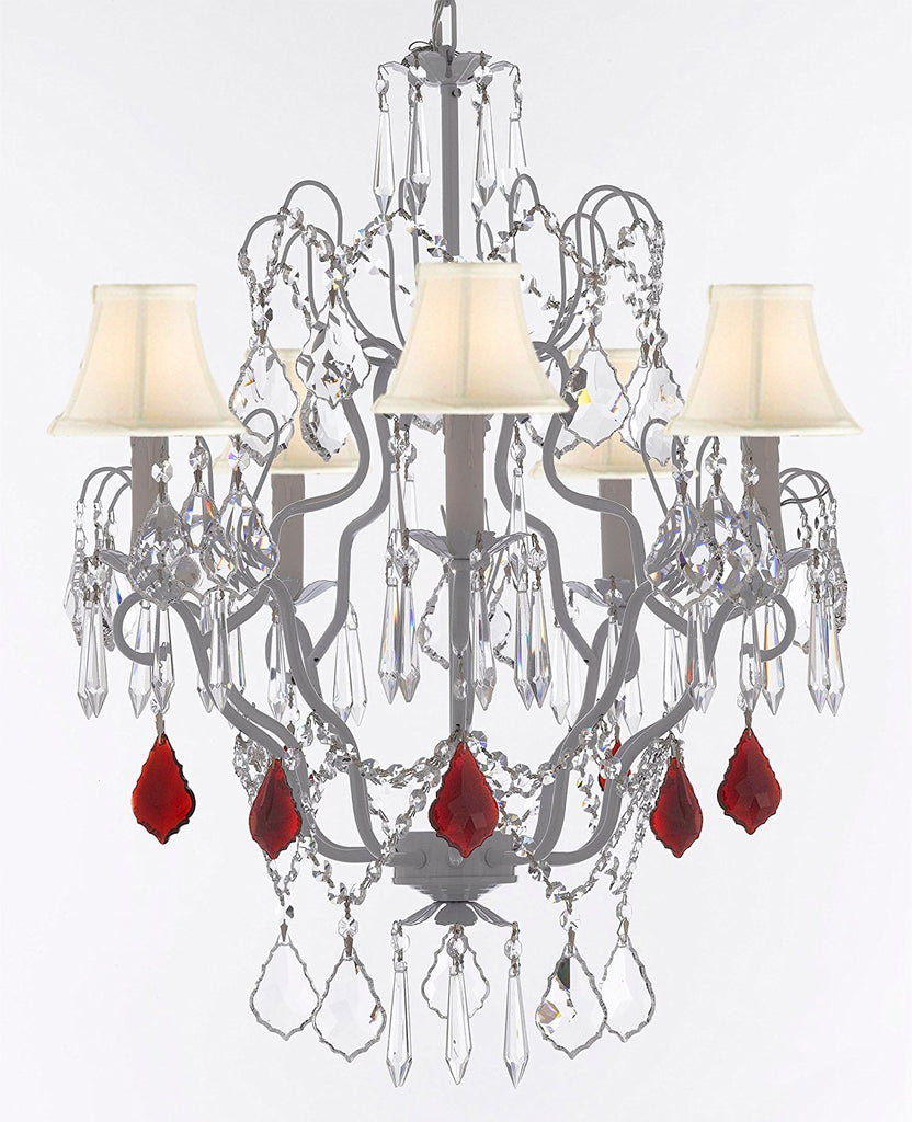 "White Wrought Iron Crystal Chandelier Chandeliers Lighting H27"" x W21"" Dressed with Ruby Red Crystal Great for Kitchens, Bathrooms, Bedrooms, Closets, and Dining Rooms w/White Shades - J10-B98/WHITESHADES/WHITE/26025/5"