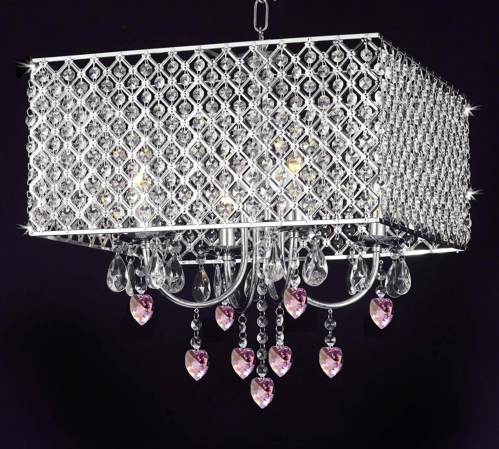 Modern Contemporary Chrome / Crystal 4-light Square Ceiling Chandelier Chandeliers Lighting With Crystal Pink Hearts - G7-B21/2129/4