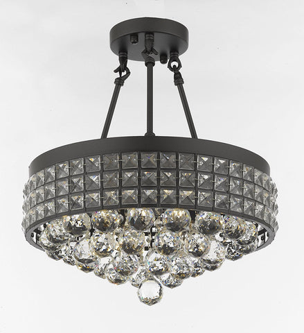 Semi Flush Mount French Empire Crystal Ball Chandelier Chandeliers Lighting Ht 17 X Wd 15 4 Lights Crystal Iron Metal Shade Rustic Modern - B6/26003/4