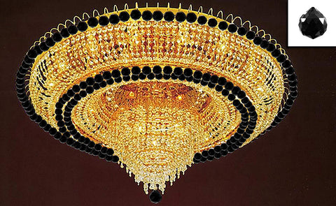 "French Empire Crystal Flush Chandelier Lighting H 19"" W 39"" Dressed with Jet Black Color Balls! - G93-B103/LYS-6649"