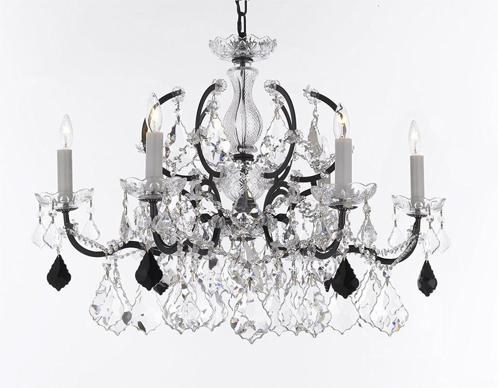 "Swarovski Crystal Trimmed Chandelier 19th C. Rococo Iron & Crystal Chandelier Lighting- Dressed with Jet Black Crystals Great for Kitchens, Bathrooms, Closets, and Dining Rooms H 19"" x W 26"" - G83-B97/994/6SW"