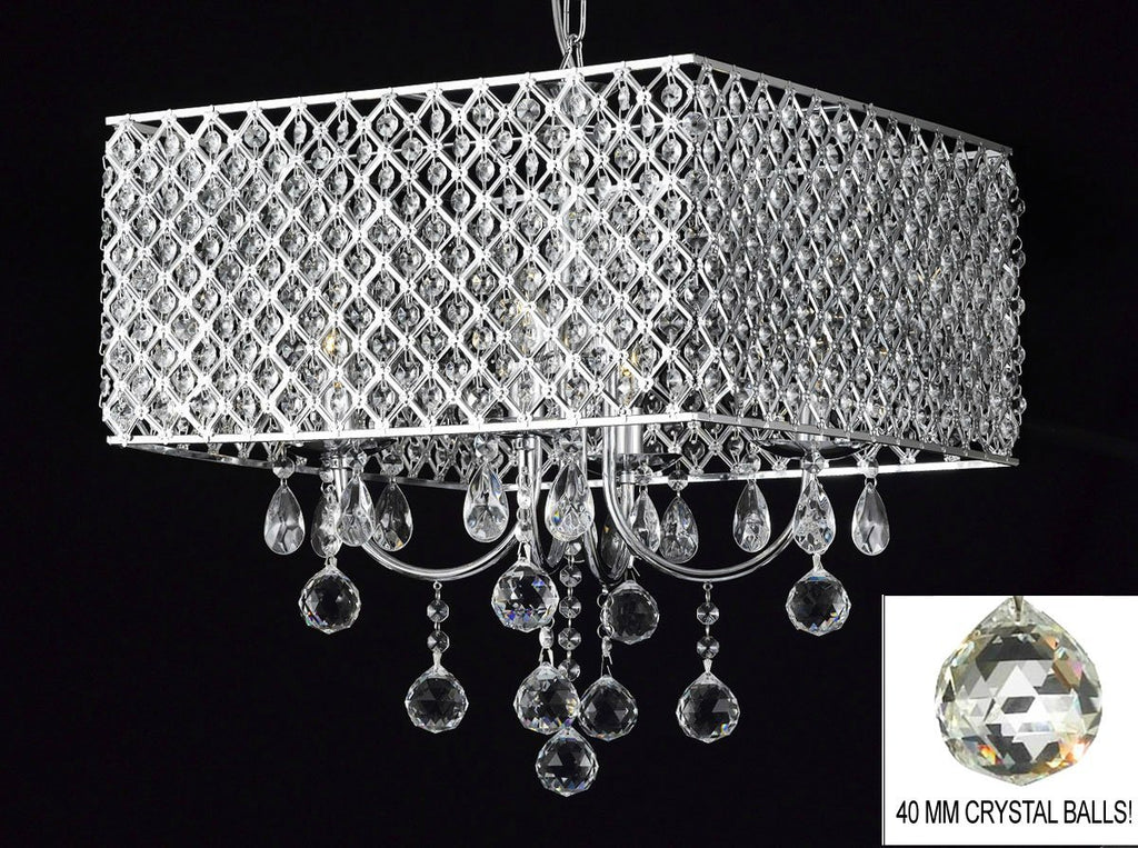 Modern Contemporary Chrome / Crystal 4-light Square Ceiling Chandelier Chandeliers Lighting With 40MM CRYSTAL BALLS - G7-B6/2129/4