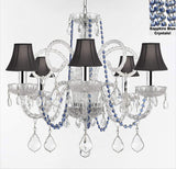 "AUTHENTIC ALL CRYSTAL CHANDELIER CHANDELIERS LIGHTING WITH SAPPHIRE BLUE CRYSTALS AND BLACK SHADES! PERFECT FOR LIVING ROOM, DINING ROOM, KITCHEN, KID'S BEDROOM W/CHROME SLEEVES! H25"" W24"" - A46-B43/B82/SC/BLACKSHADES385/5"