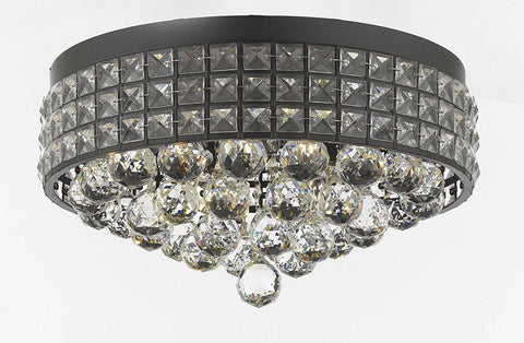 Flush Mount French Empire Crystal Ball Chandelier Chandeliers Lighting Ht 8 X Wd 15 4 Lights Crystal Iron Metal Shade Rustic Modern - B6/26003/4-Flush