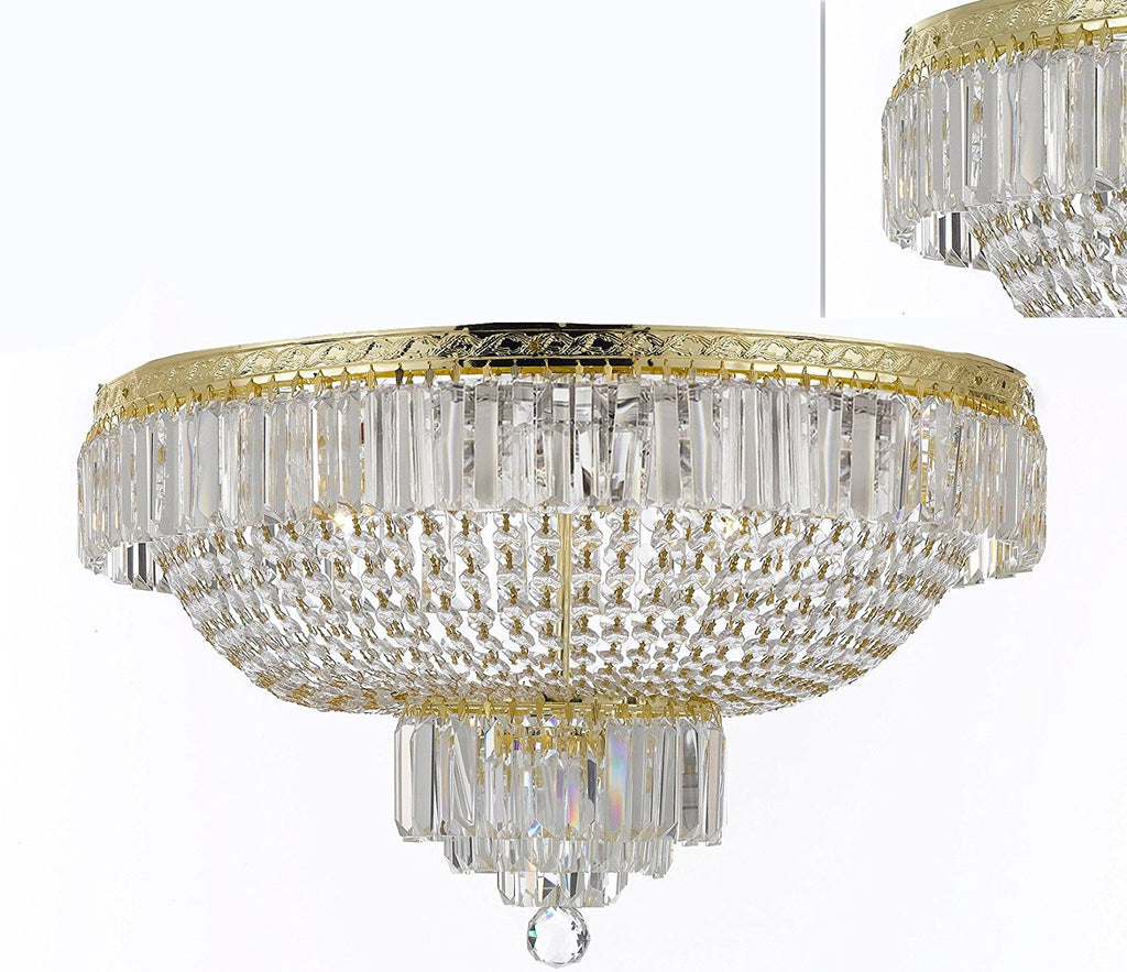 "French Empire Crystal SemiFlush Basket Chandelier Chandeliers Lighting H21"" X W30"" - F93-B102/FLUSH/CG/870/14"
