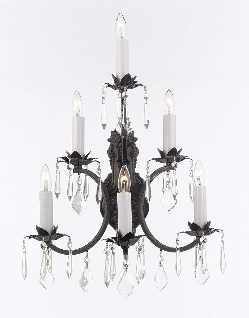 Wrought Iron Wall Sconce Crystal Lighting 3 Tier Wall Sconces W16 x H24 - A83-6/3034