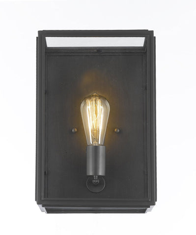 "Union Filament Clear Glass Wide Wall Sconce - Good For Outdoor Lighting & Indoor Use - Wrought Iron Vintage Barn Metal Industrial Urban Loft Rustic Wall Mount Lighting - Size: 9""W X 6""D X 14""H - G7-3162/1"