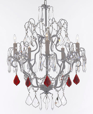 "White Wrought Iron Crystal Chandelier Chandeliers Lighting H27"" x W21"" Dressed with Ruby Red Crystal Great for Kitchens, Bathrooms, Bedrooms, Closets, and Dining Rooms - J10-B98/WHITE/26025/5"
